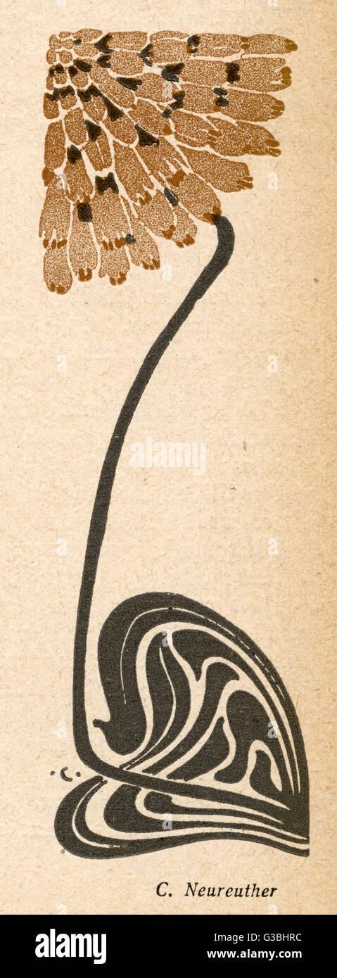 Stylised plant in the  Jugendstil manner.        Date: 1904 - Stock Image