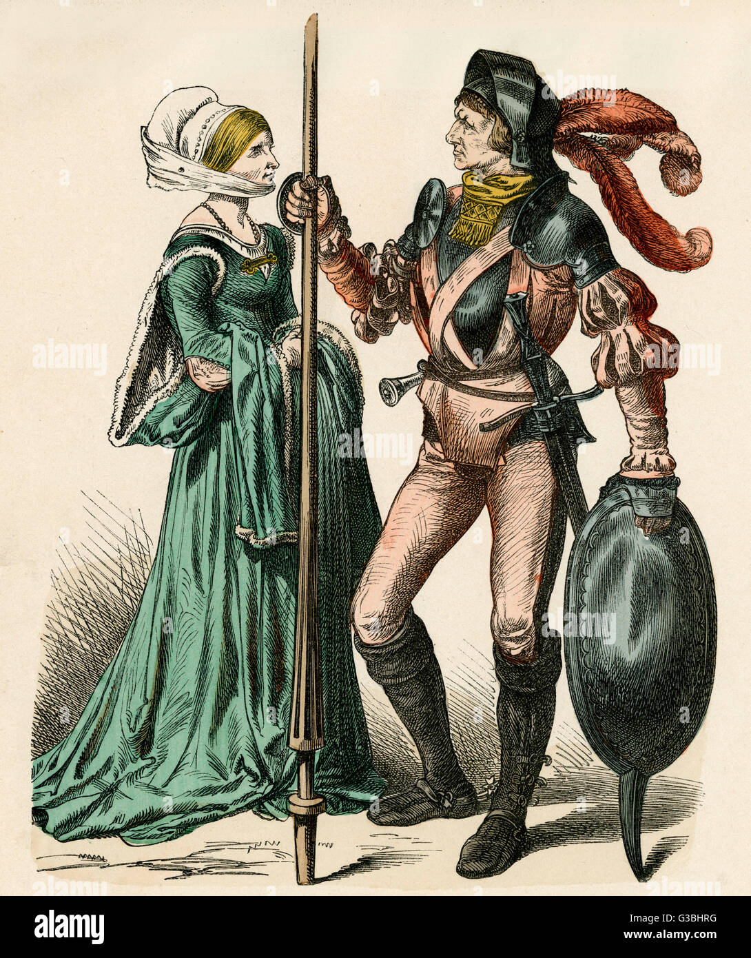 A German couple of the early  16th century. Man: armour,  shield, buskins (boots) &  hose. Woman: the sleeves - Stock Image