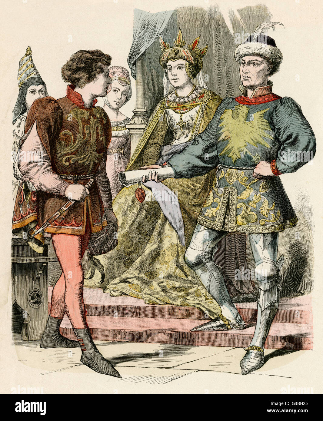 Short jacket or jerkin with  hanging sleeves & collar worn  over a doublet, hose & piked  boots - Stock Image