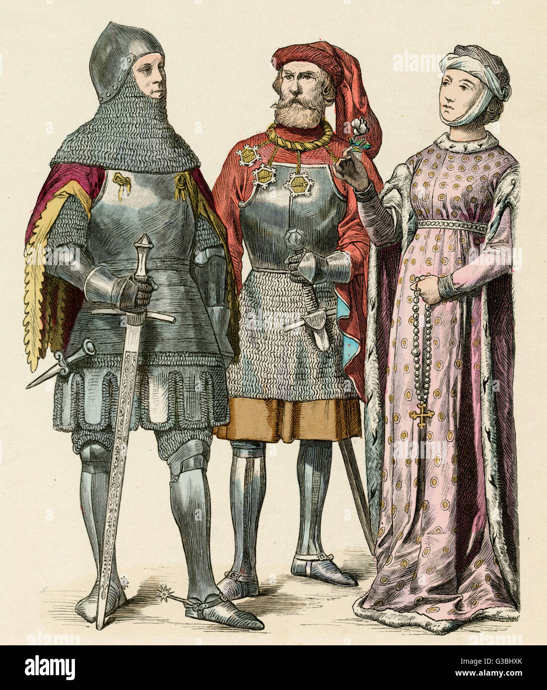 Men: garments with hanging  sleeves worn under armour,  chaperon with liripipe. Woman:  houppelande (gown) with - Stock Image