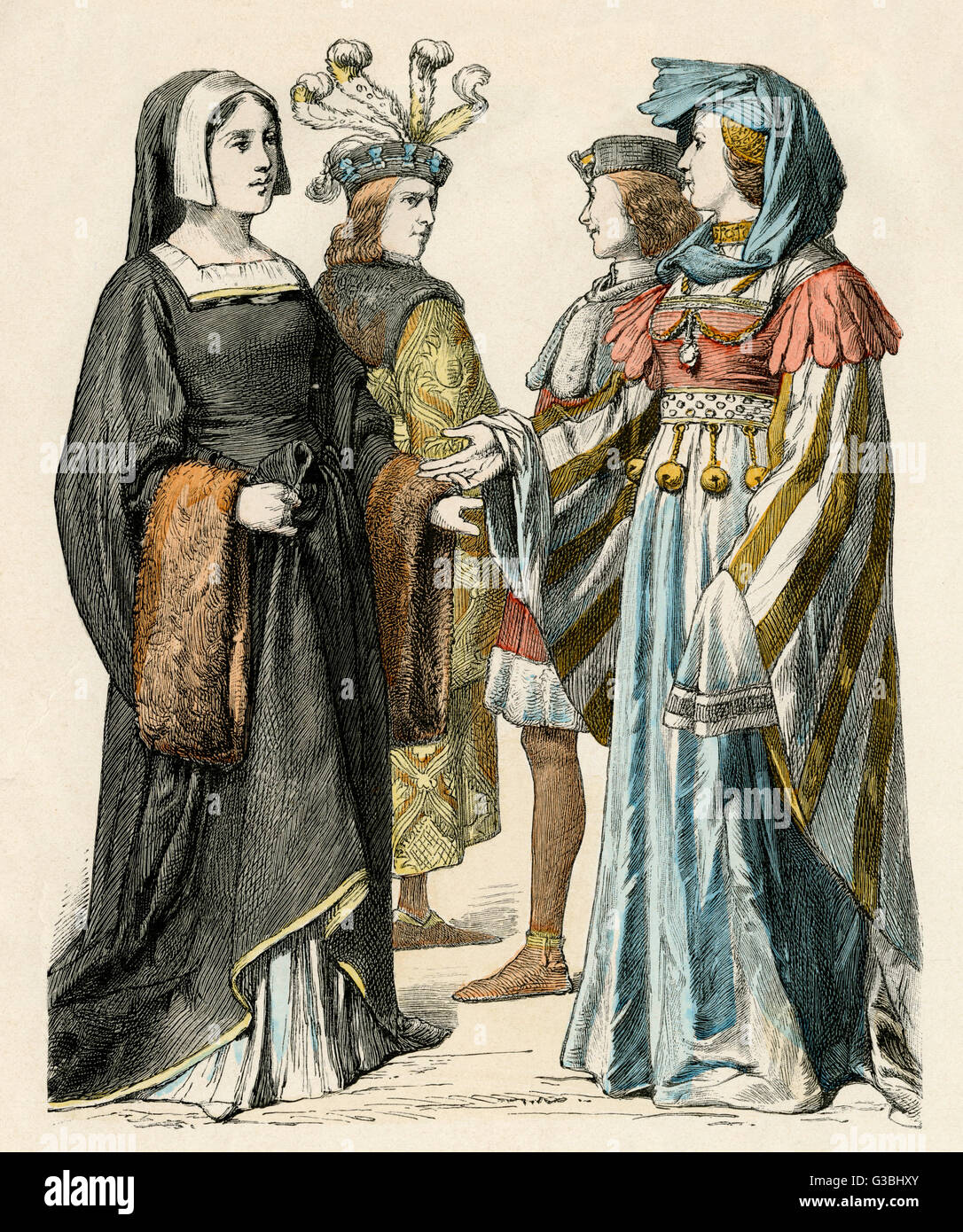 Women: gown with square  neckline (chemise visible),  funnel sleeves with fur  borders, hood-like headdress,  gown - Stock Image