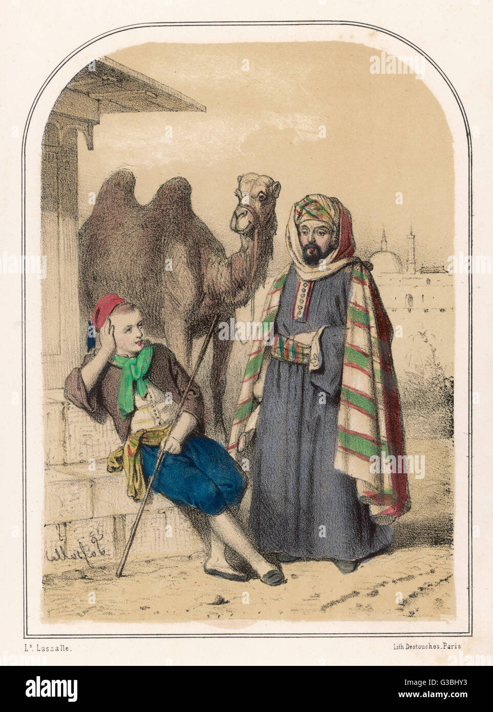 The story of Ali and the wise  camel which will bring good  fortune ...       Date: 19th century - Stock Image