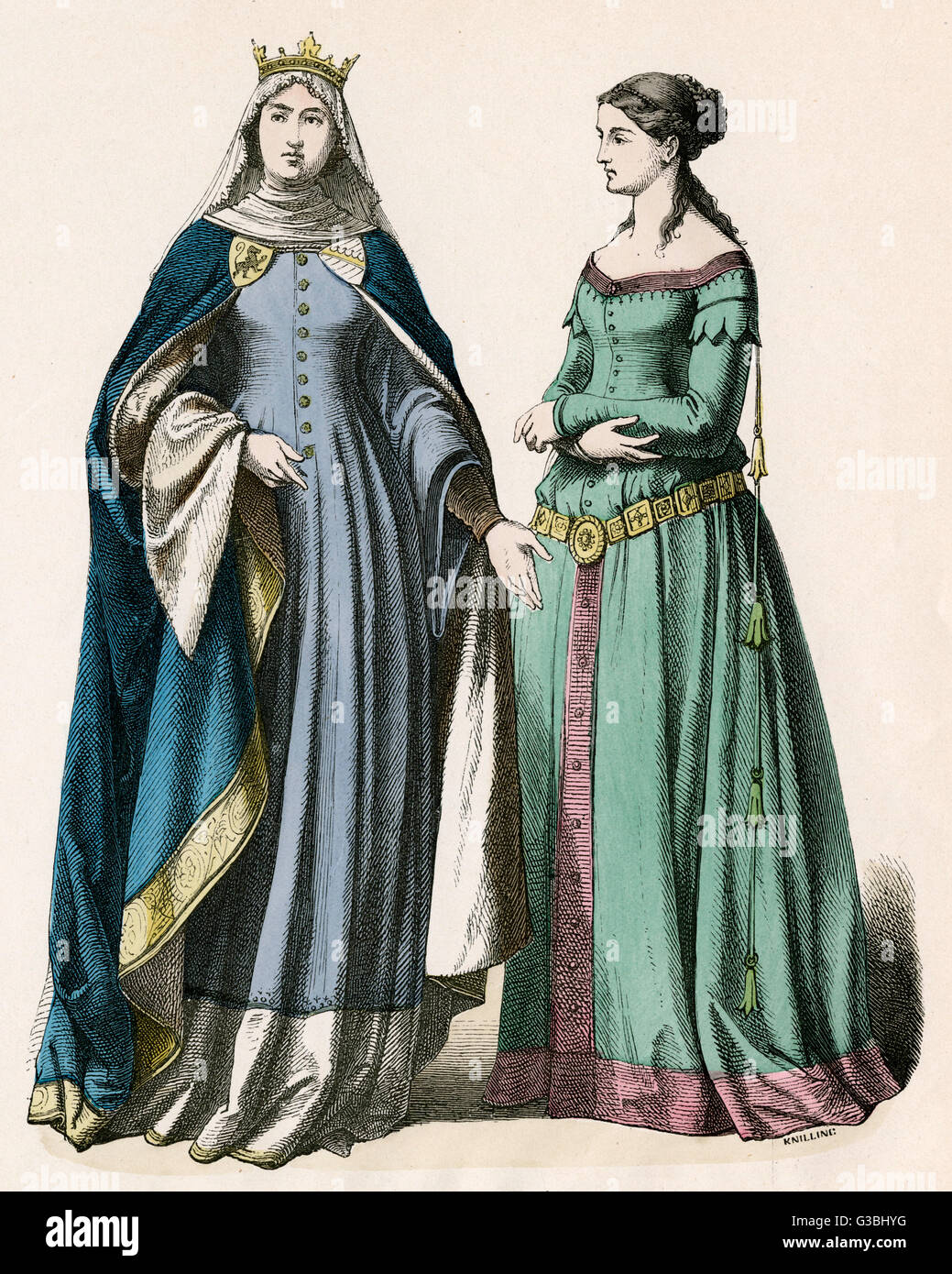 Noblewomen: fur-lined mantle  with heraldic embroidery & a  garment that resembles a  kirtle, being front - Stock Image