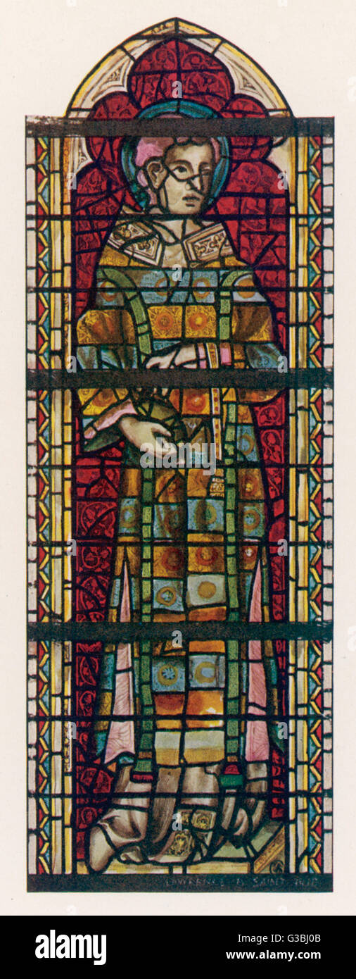 Saint Stephen wears a many- coloured dream coat in this  window in York minster.       Date: 14th century - Stock Image