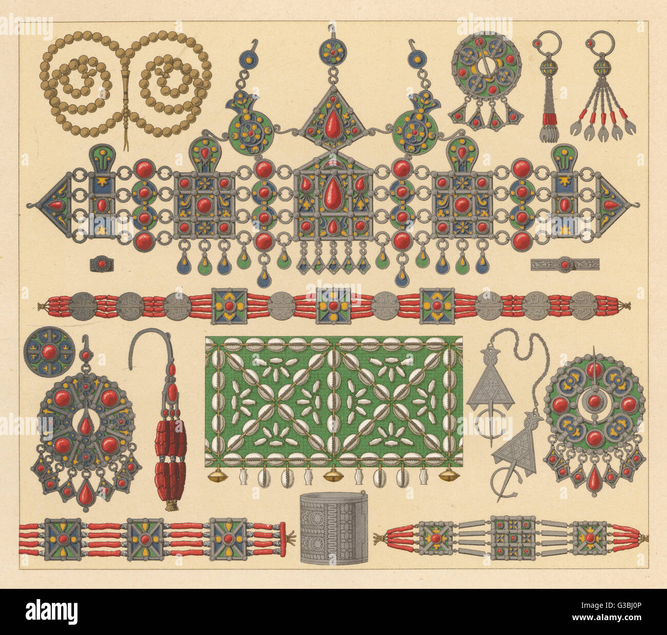 A display of African ornaments  (full description available  from the book)       Date: mid 19th century - Stock Image