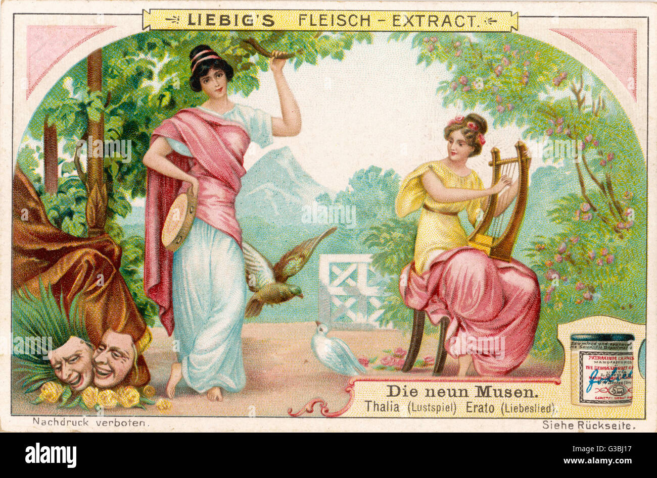 Thalia muse of comic drama and Erato muse of lyric poetry - Stock Image