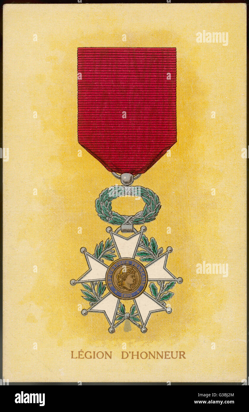 FRANCE The Legion d'honneur         Date: early 20th century - Stock Image