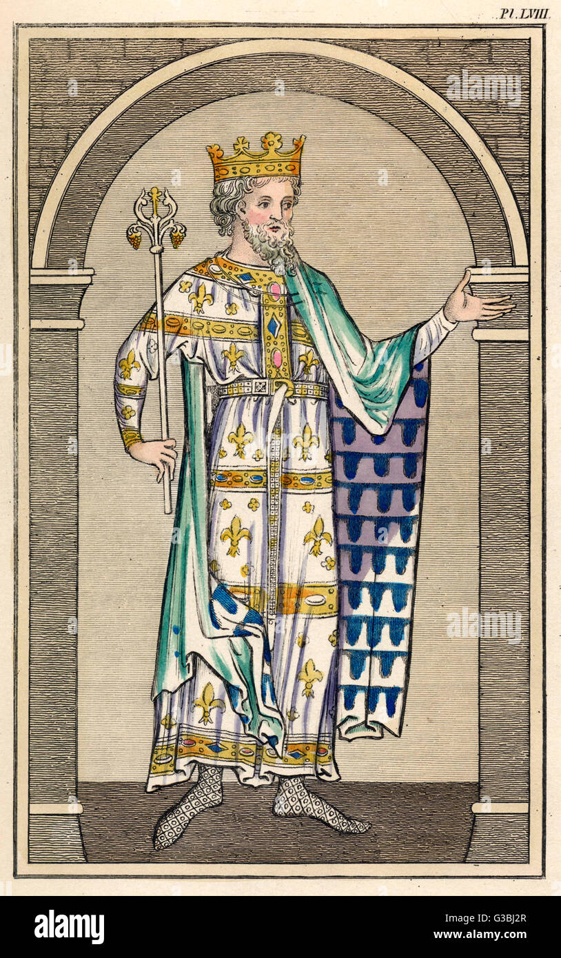 An unnamed king wears his  coronation regalia.        Date: 13th century - Stock Image