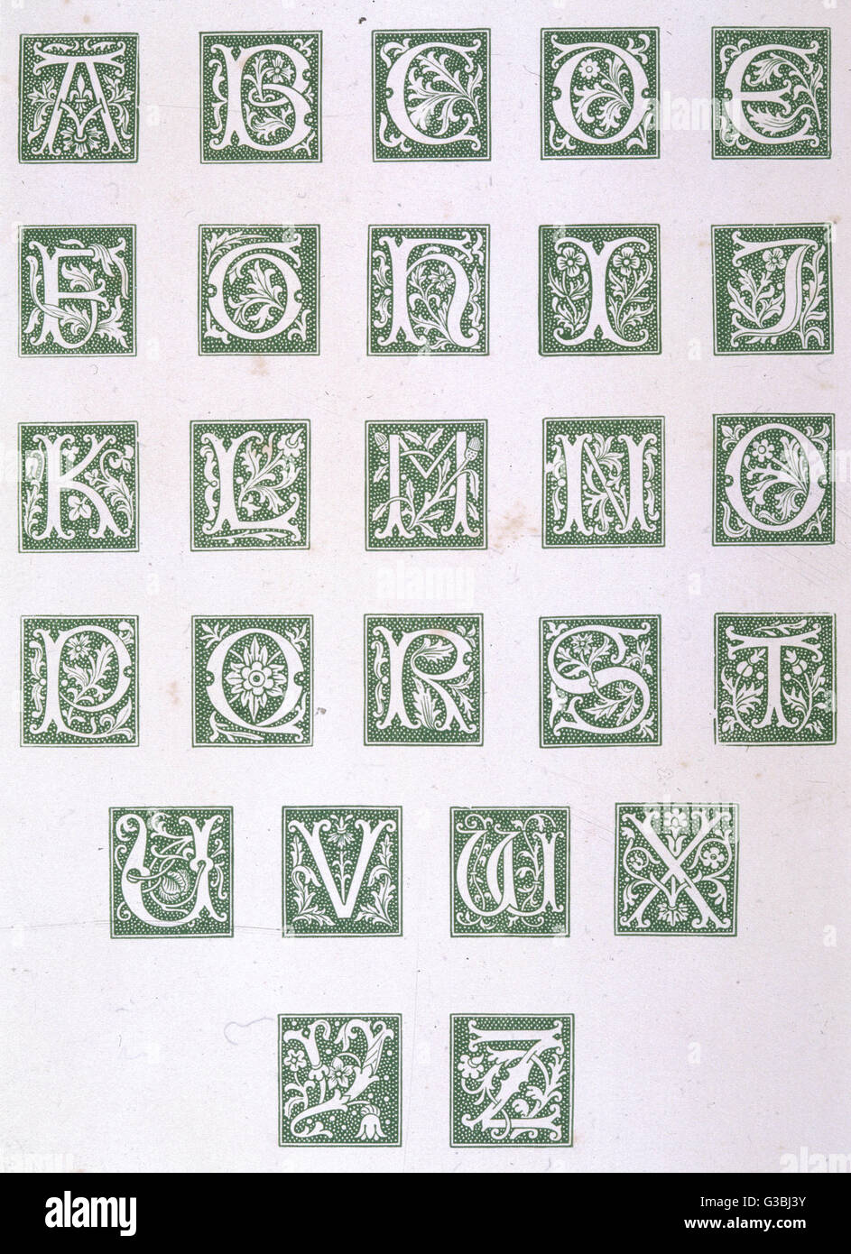 This alphabet is notable for  being complete - 'I' is  distinguished from 'J' and all  26 letters - Stock Image