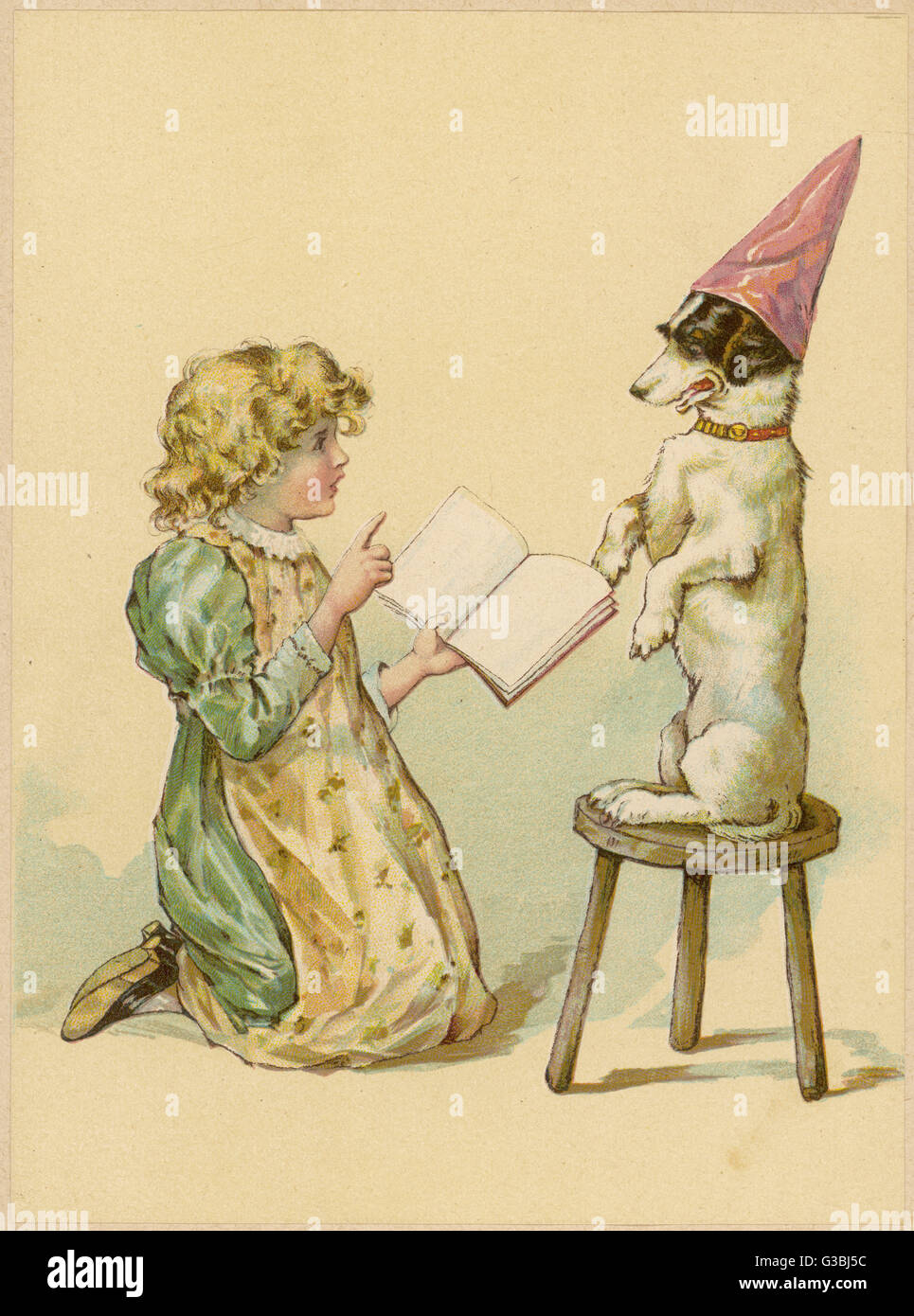 A young girl tries to teach her dog new tricks.        Date: circa 1890 - Stock Image