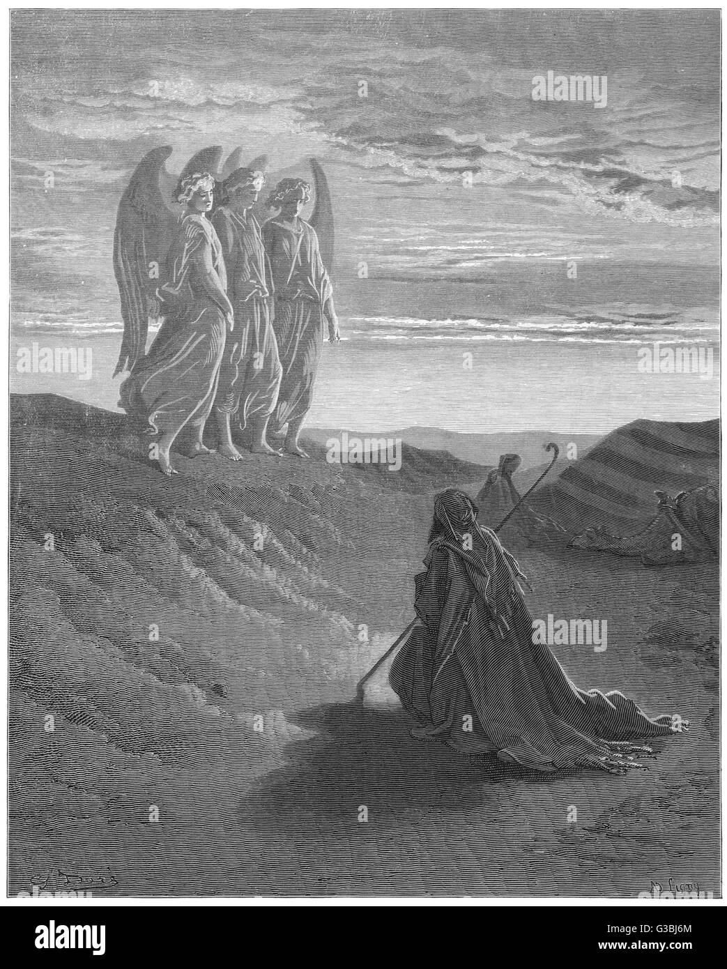 Three angels appear to Abraham  and inform him of God's  intentions.       Date: BCE - Stock Image
