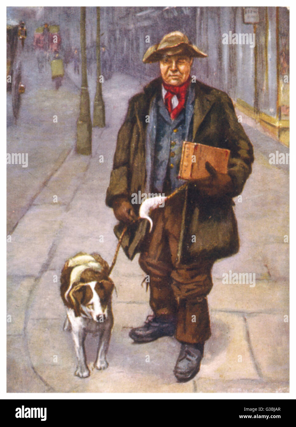 The rat catcher and his dog  walking along a London street,  striking fear into any rats  they meet...      Date: - Stock Image