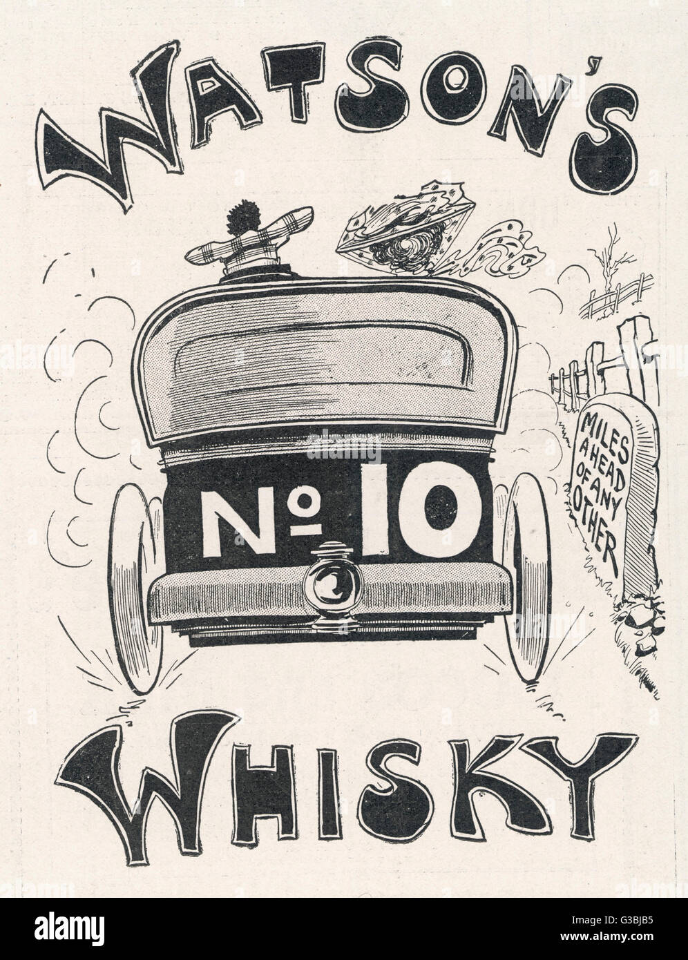 Watson's No 10 Whisky is  'miles ahead of any other'         Date: 1905 - Stock Image