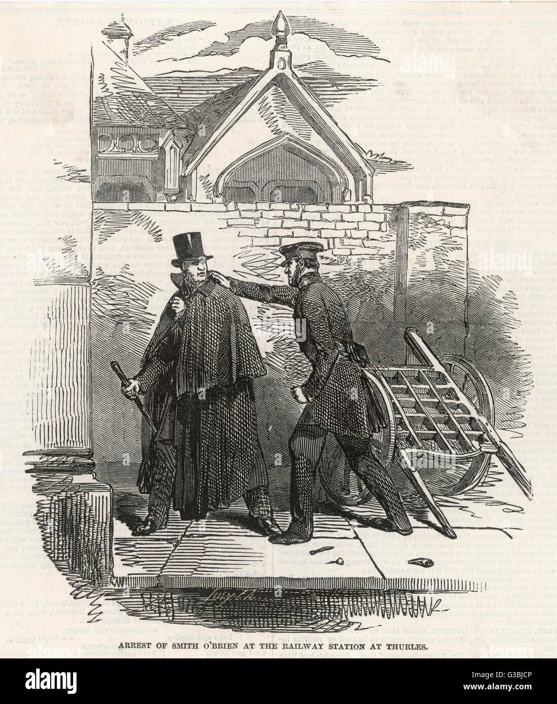 William Smith O'Brien, poorly  disguised in cape and hat, is  arrested at the railway  station at Thurles   - Stock Image
