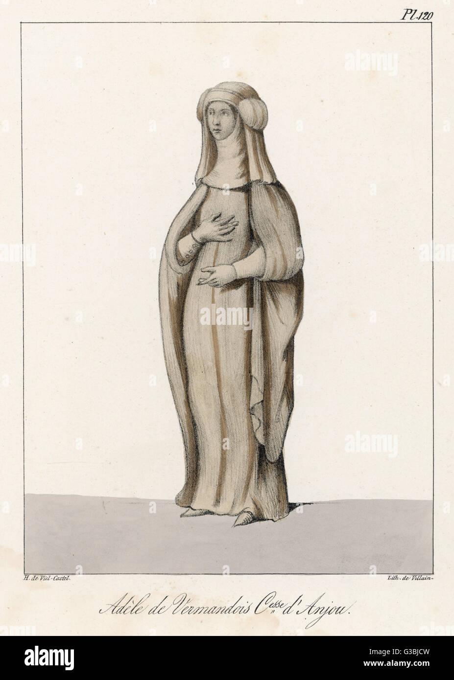 ADELE DE VERMANDOIS Wife of Geoffrey I, Count of Anjou        Date: 914? - 934? - Stock Image