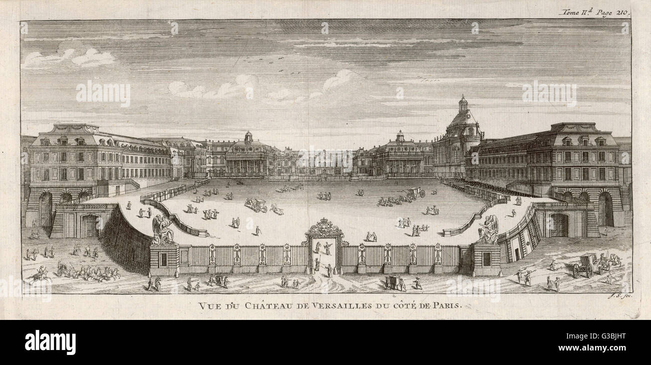 A view of the monumental  baroque palace of Louis XIV.         Date: circa 1700 - Stock Image