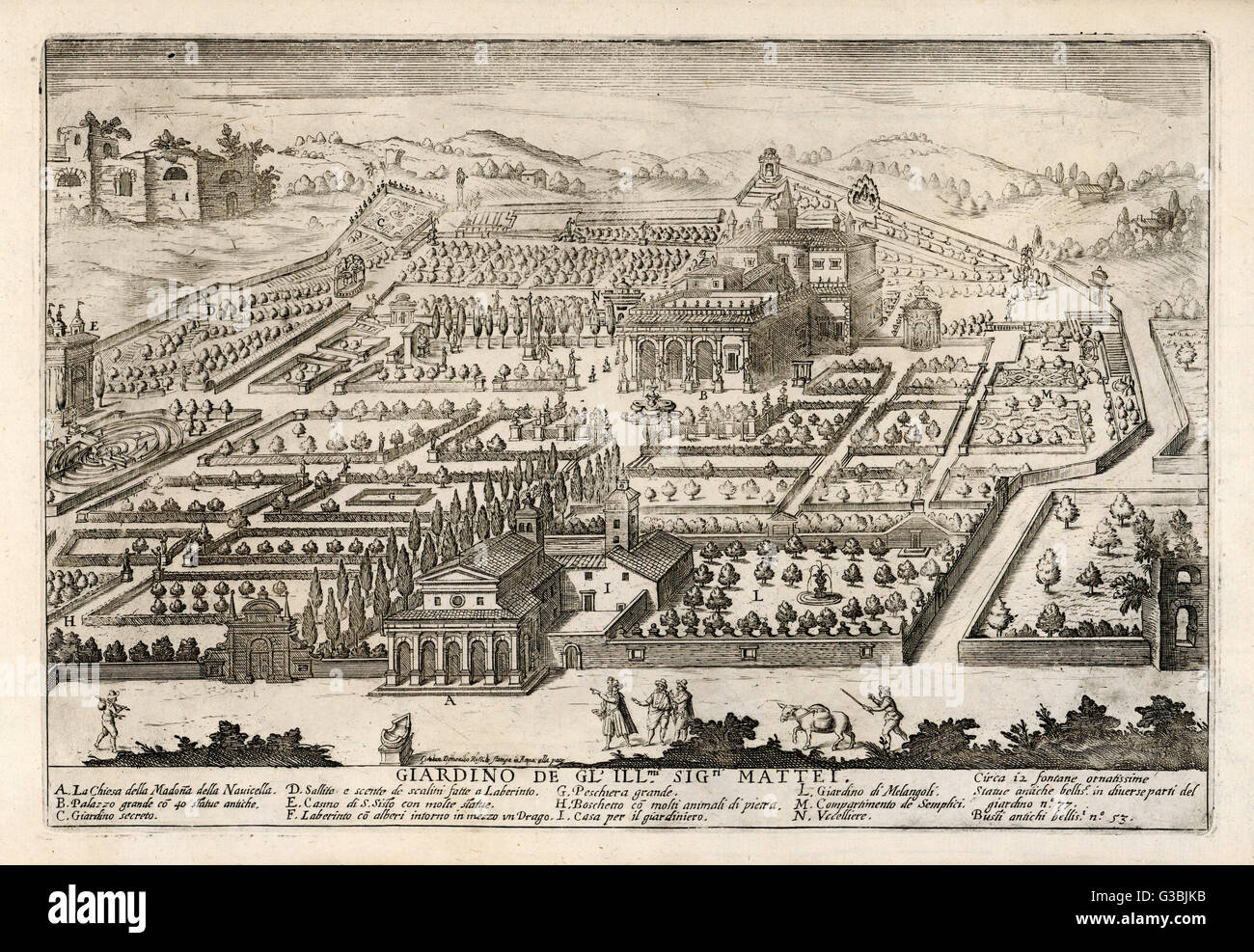 VILLA MATTEI OR VILLA COELI MONTANA built in 1582 by Ciriaco Mattei showing  a series of formal Italian gardens & buildings including a maze, ...