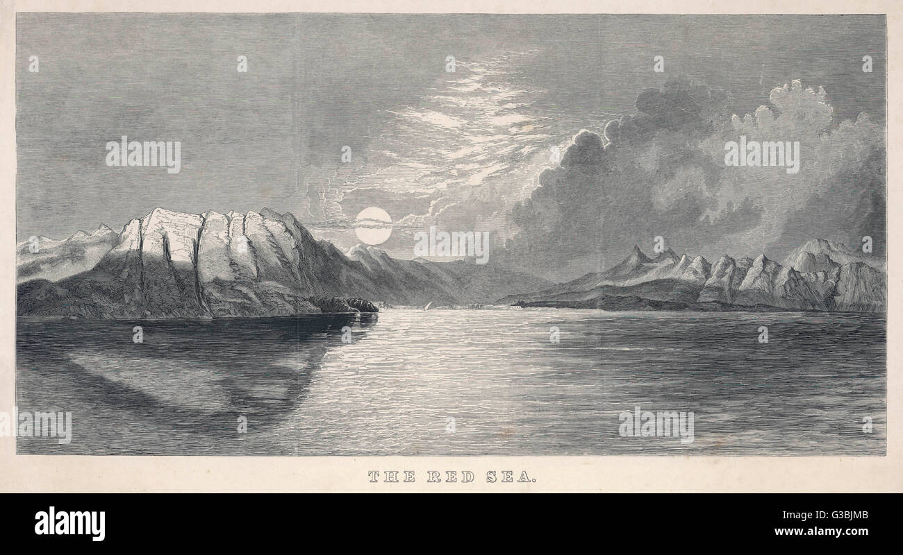A view of the RED SEA at  sunset. A dhow is just visible  on the horizon.        Date: late 19th century - Stock Image
