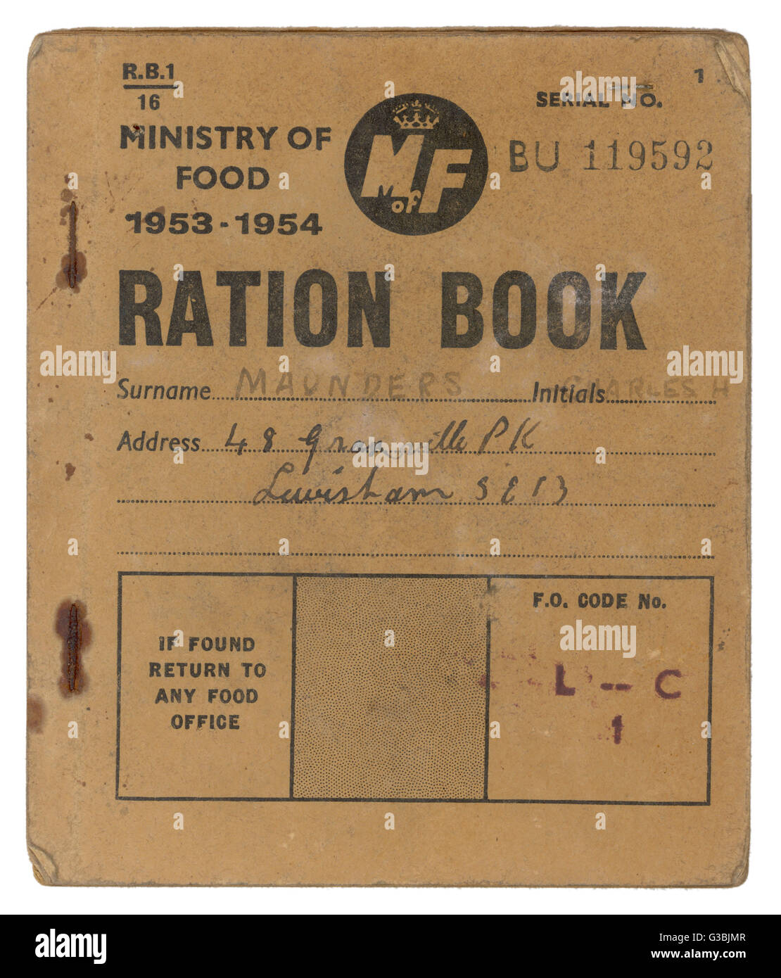 A Ministry of Food Ration  Book, proving that rationing  lasted in Britain for several  years after World War Two - Stock Image