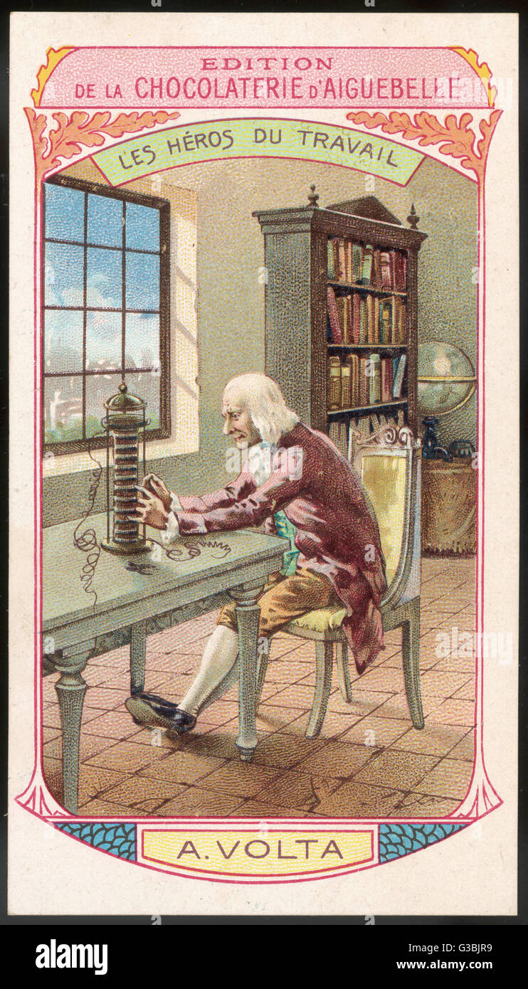 ALESSANDRO VOLTA Italian scientist, notable for  his invention of the voltaic  pile - the first electric  battery. - Stock Image