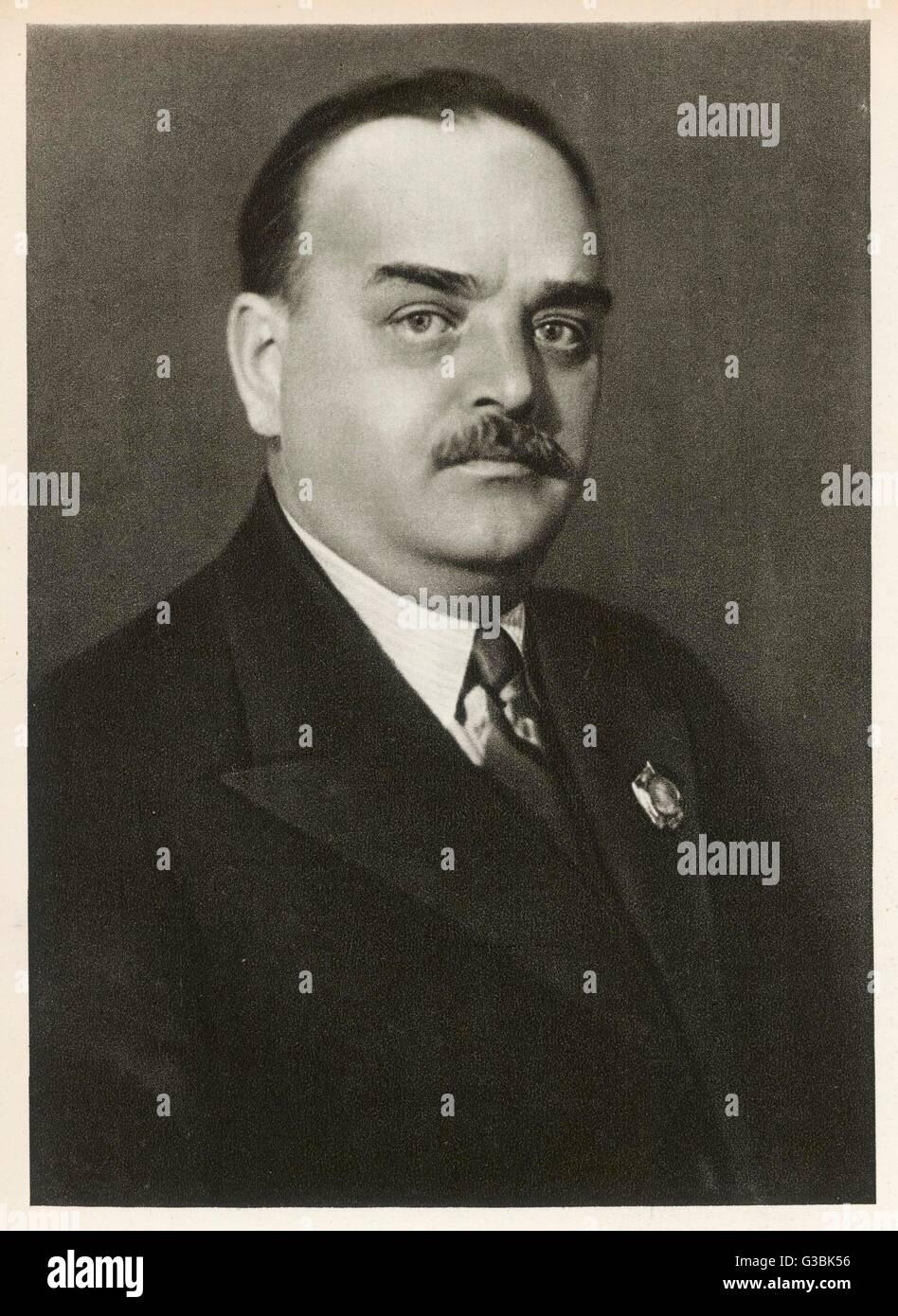 NIKOLAI SHVERNIK Russian statesman, trade union  leader, realigned labour  organisations to subordinate  them to - Stock Image