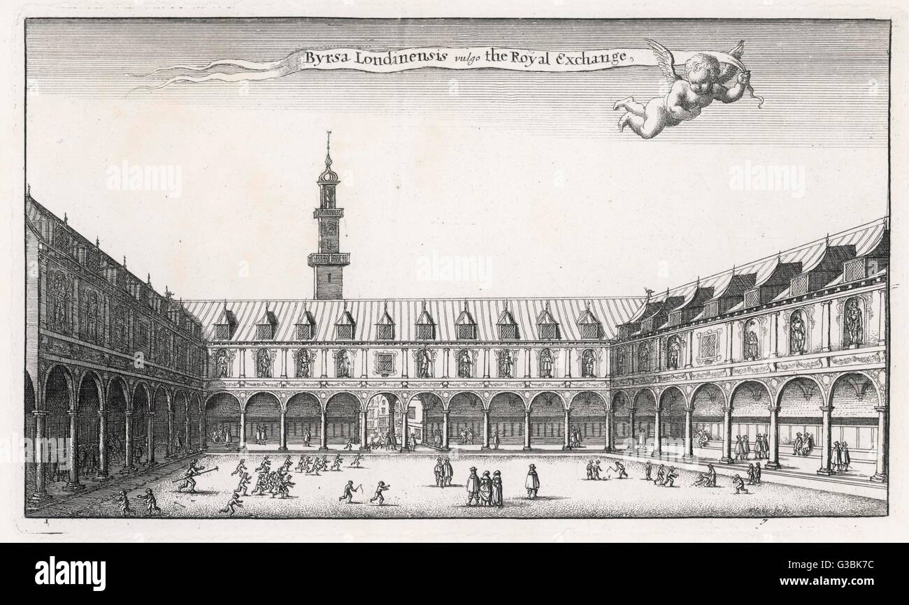 The courtyard of Thomas  Gresham's Royal Exchange,  modelled on the bourse at  Antwerp : sadly, it will be  - Stock Image