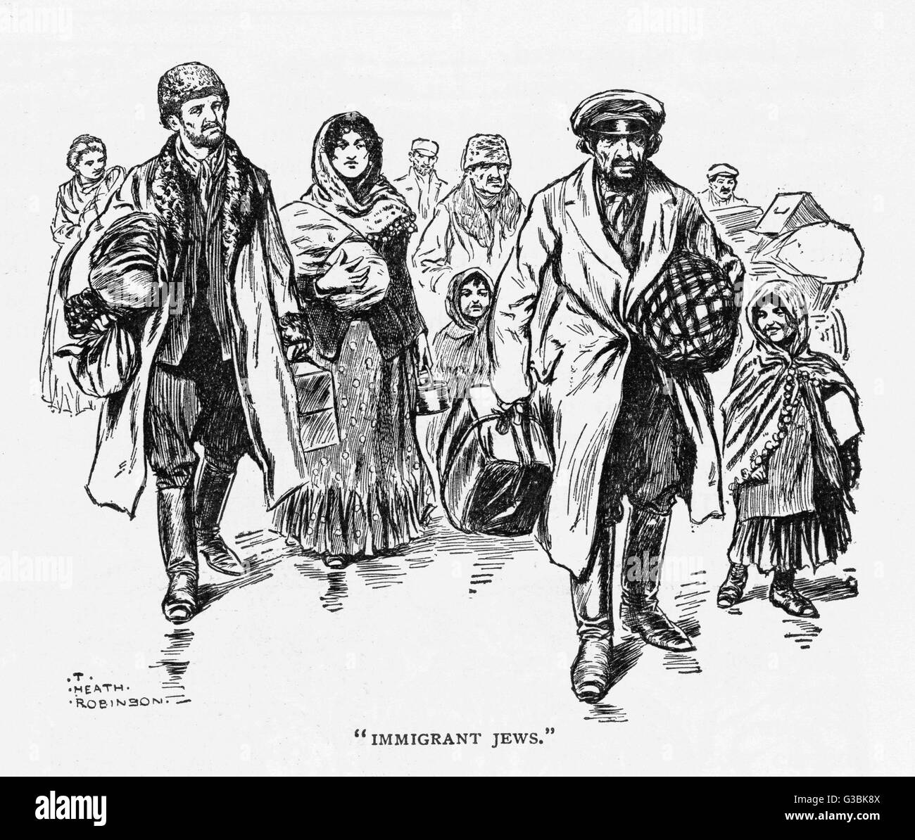 Jewish men, women and children  arrive in London carrying  their possessions in suitcases  and bundles      Date: - Stock Image