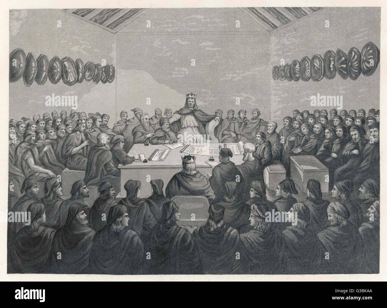 The High Chamber of Tara, the  national assembly of Ireland  in medieval times.       Date: Middle ages Stock Photo