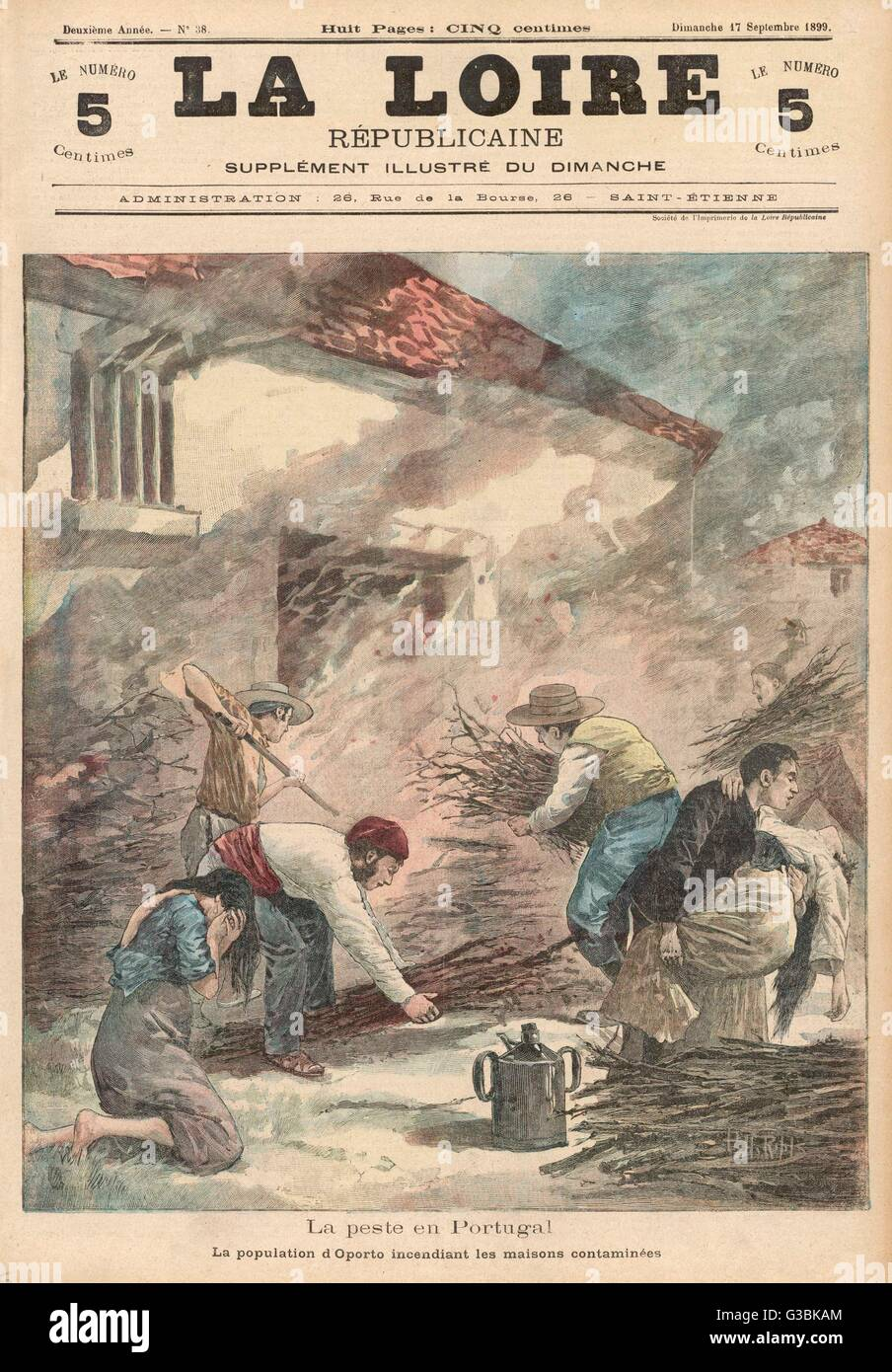 When Portugal is struck by an  epidemic of bubonic plague,  the population burn infected  homes in hope of destroying Stock Photo