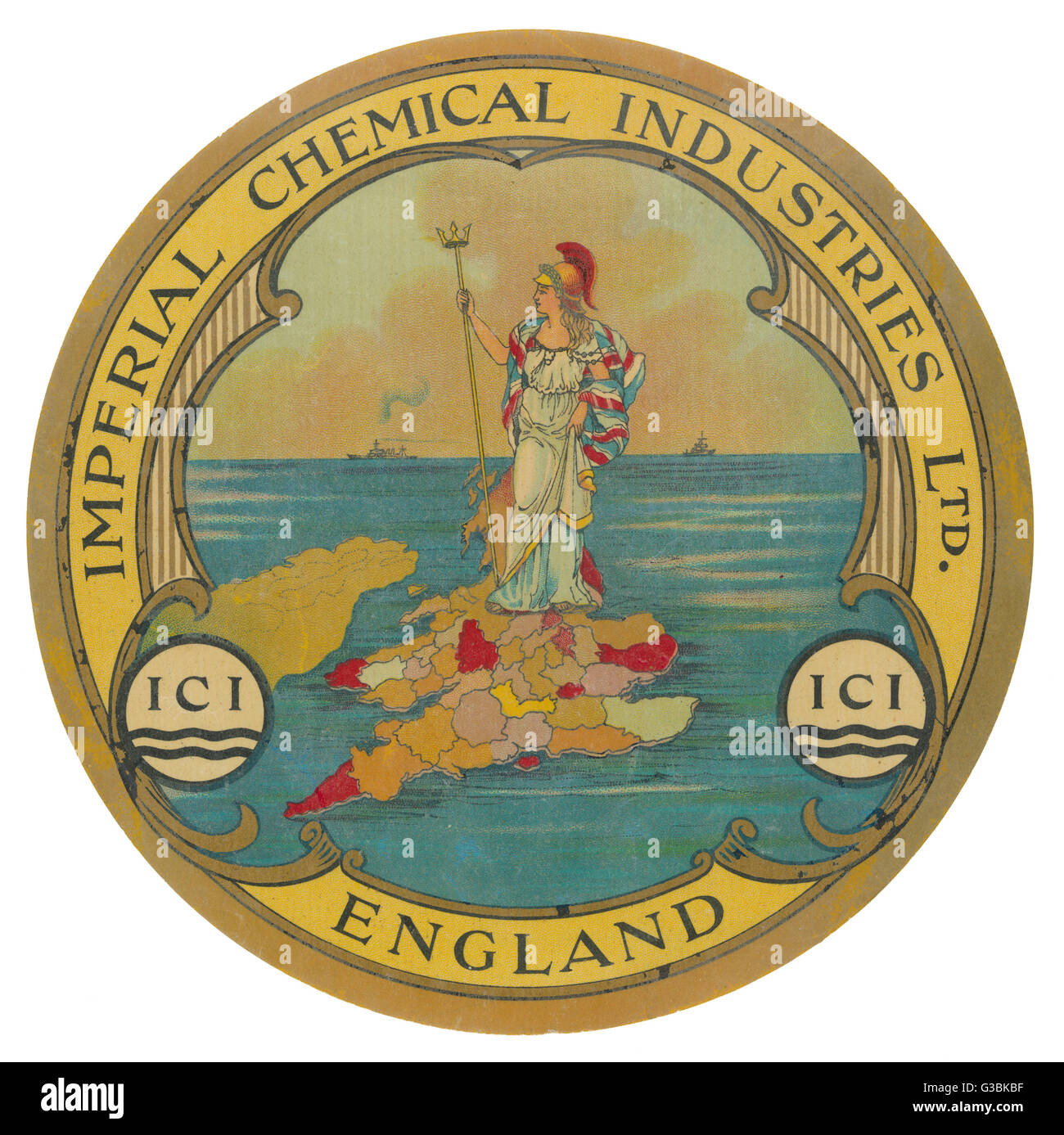 ICI (Imperial Chemical  Industries) helps Britannia  rule the waves in the great  days when the word 'imperial' - Stock Image