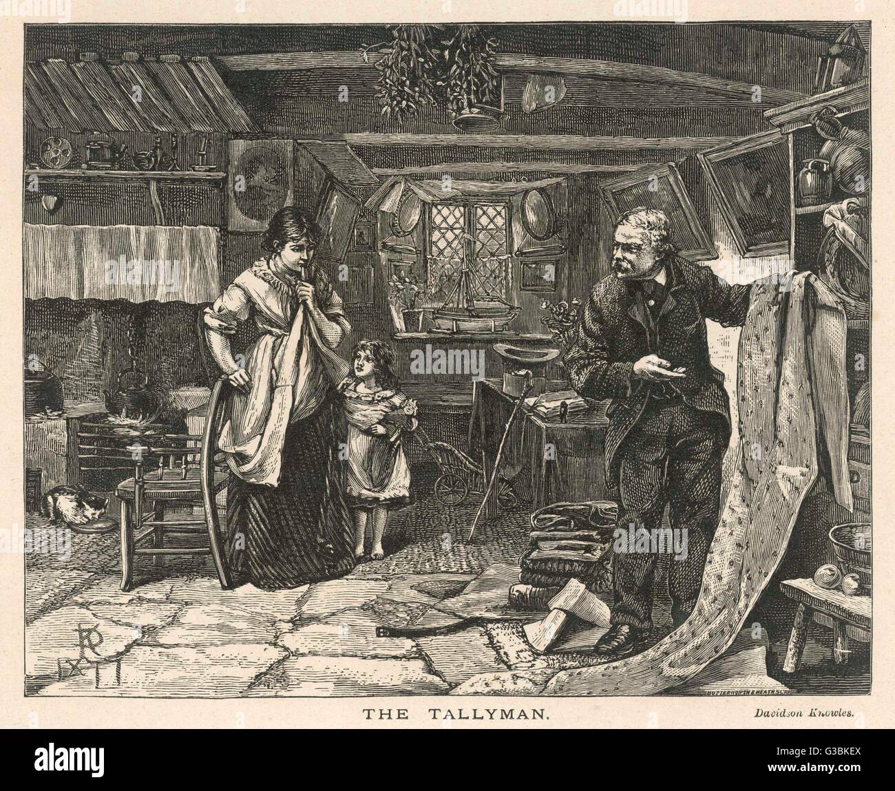 The Tallyman displays his  wares in a country cottage.        Date: 1878 - Stock Image