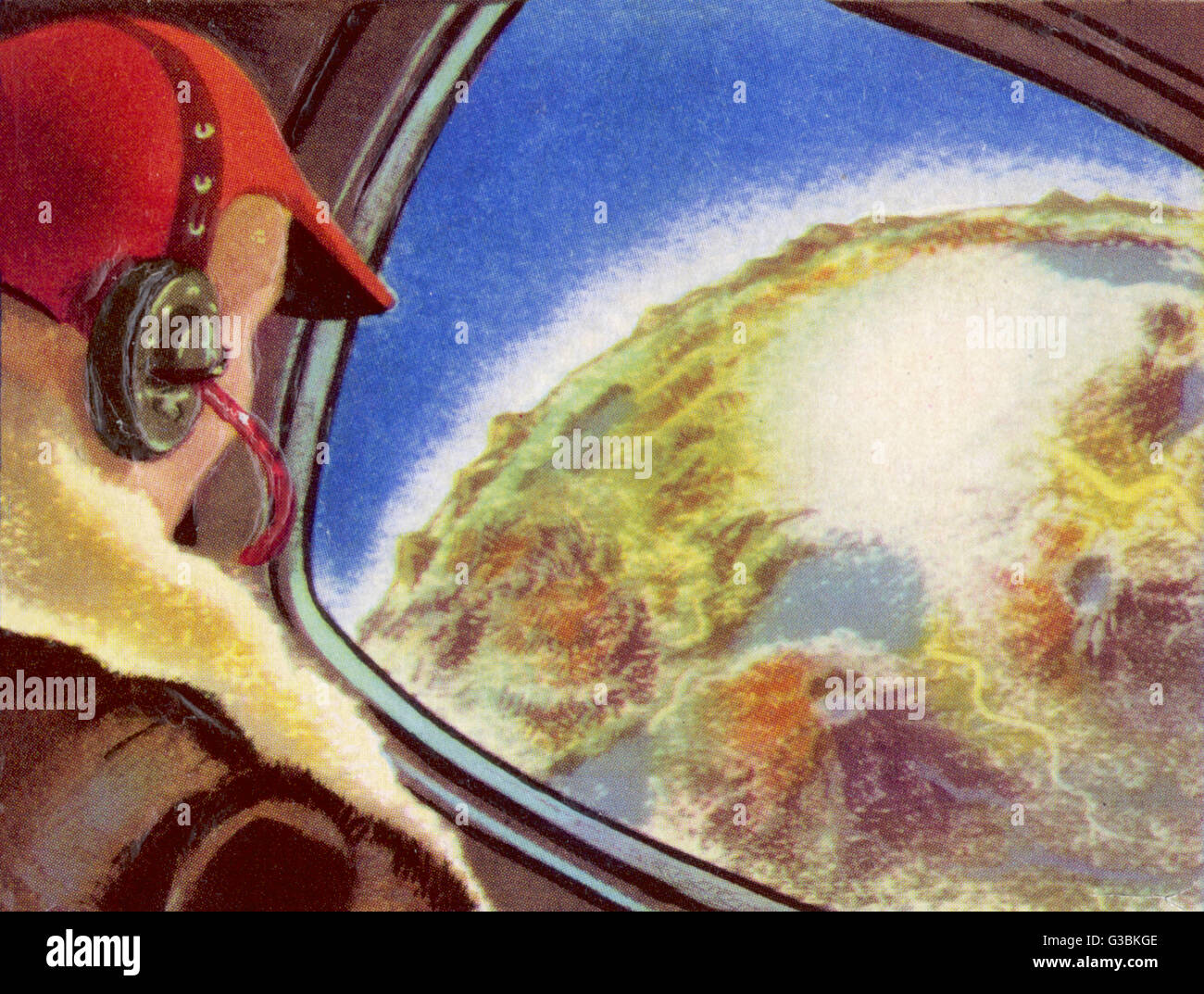 INTERPLANETARY ROCKET  APPROACHES THE PLANET MARS        Date: circa 1950 - Stock Image