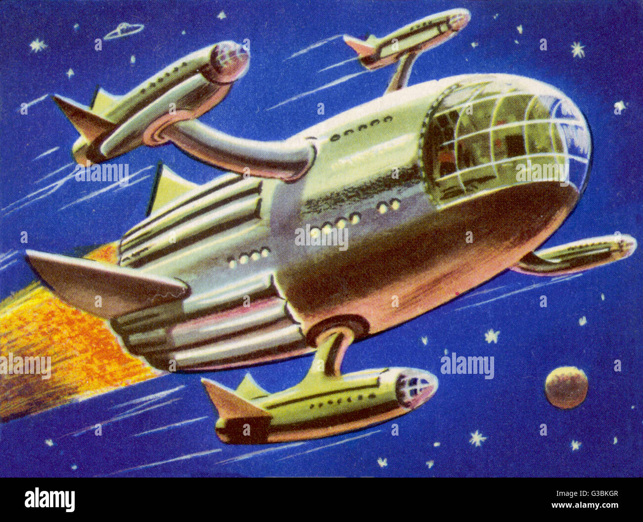 INTERPLANETARY SPACECRAFT,  CARRYING FOUR SMALLER ROCKETS        Date: circa 1950 - Stock Image