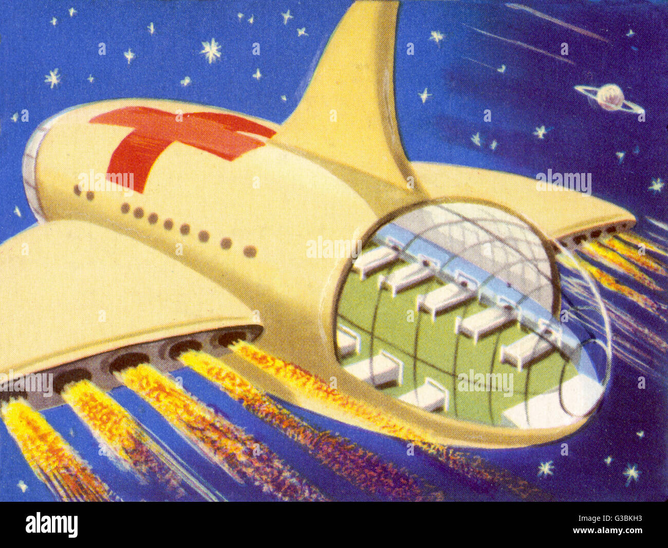 HOSPITAL SPACESHIP, EQUIPPED  TO CARRY SPACE CASUALTIES AND  GIVE THEM IN-FLIGHT TREATMENT       Date: circa 1950 - Stock Image