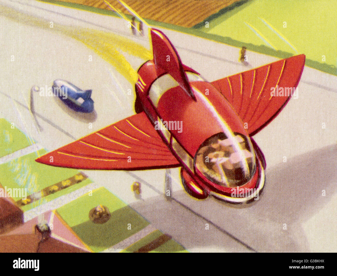 AUTOMOBILE WITH RETRACTABLE  WINGS FOR THE PURPOSE OF  FLIGHT       Date: circa 1950 - Stock Image