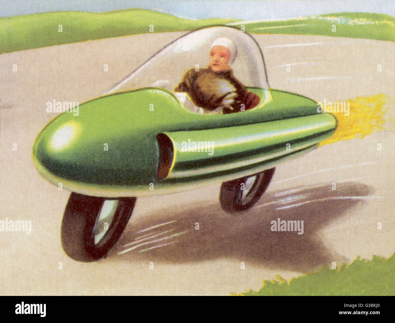 MOTOR CYCLE DRIVEN  BY ATOMIC POWER        Date: circa 1950 - Stock Image