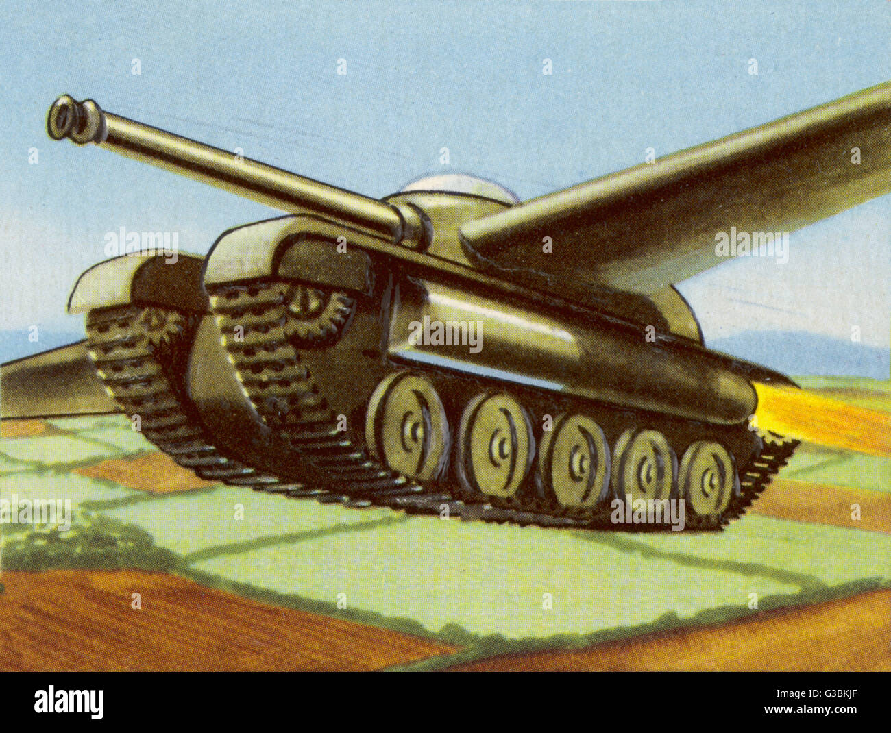 TANK EQUIPPED WITH  RETRACTABLE WINGS        Date: circa 1950 - Stock Image
