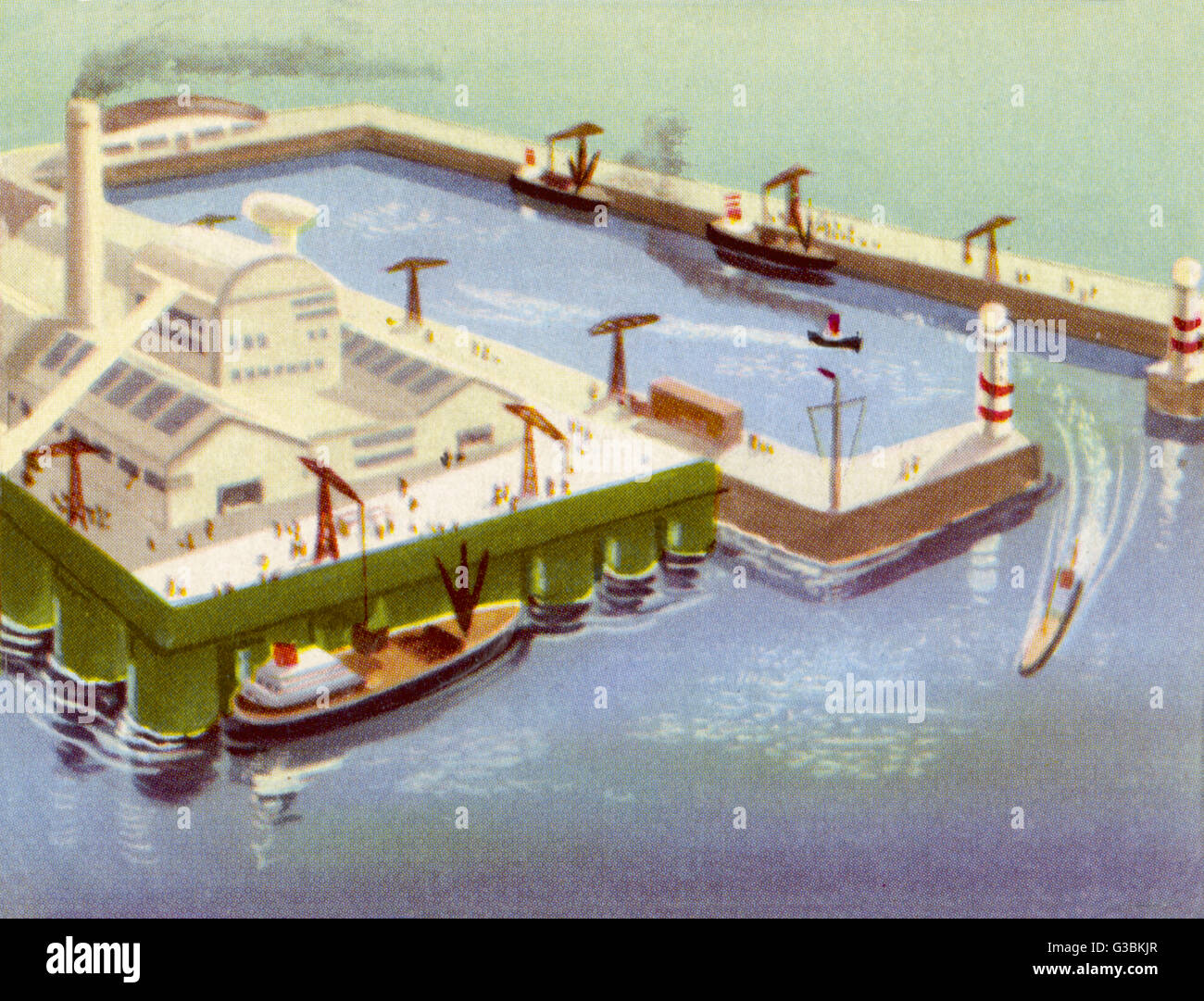 THIS FLOATING HARBOUR WITH ITS  WORKSHOPS CAN BE MOVED FROM  ONE LOCATION TO ANOTHER       Date: circa 1950 - Stock Image