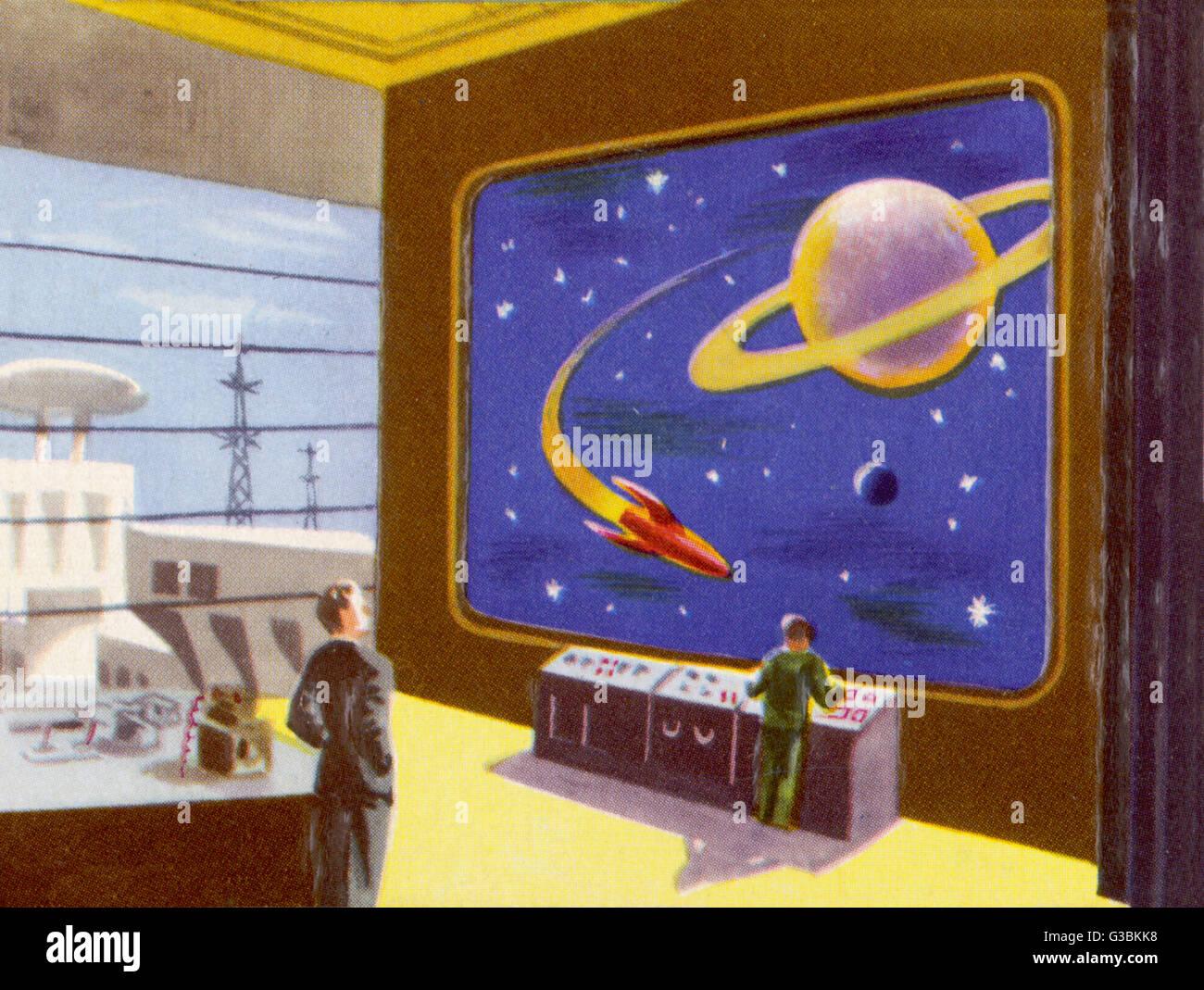 INTERPLANETARY TELEVISION         Date: circa 1950 - Stock Image