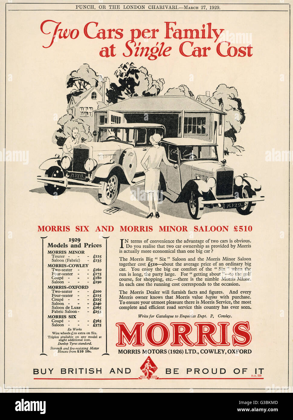 'Two cars per family at single  car cost' - Morris suggest you  buy two cars, a big Morris Six  for Dad, - Stock Image