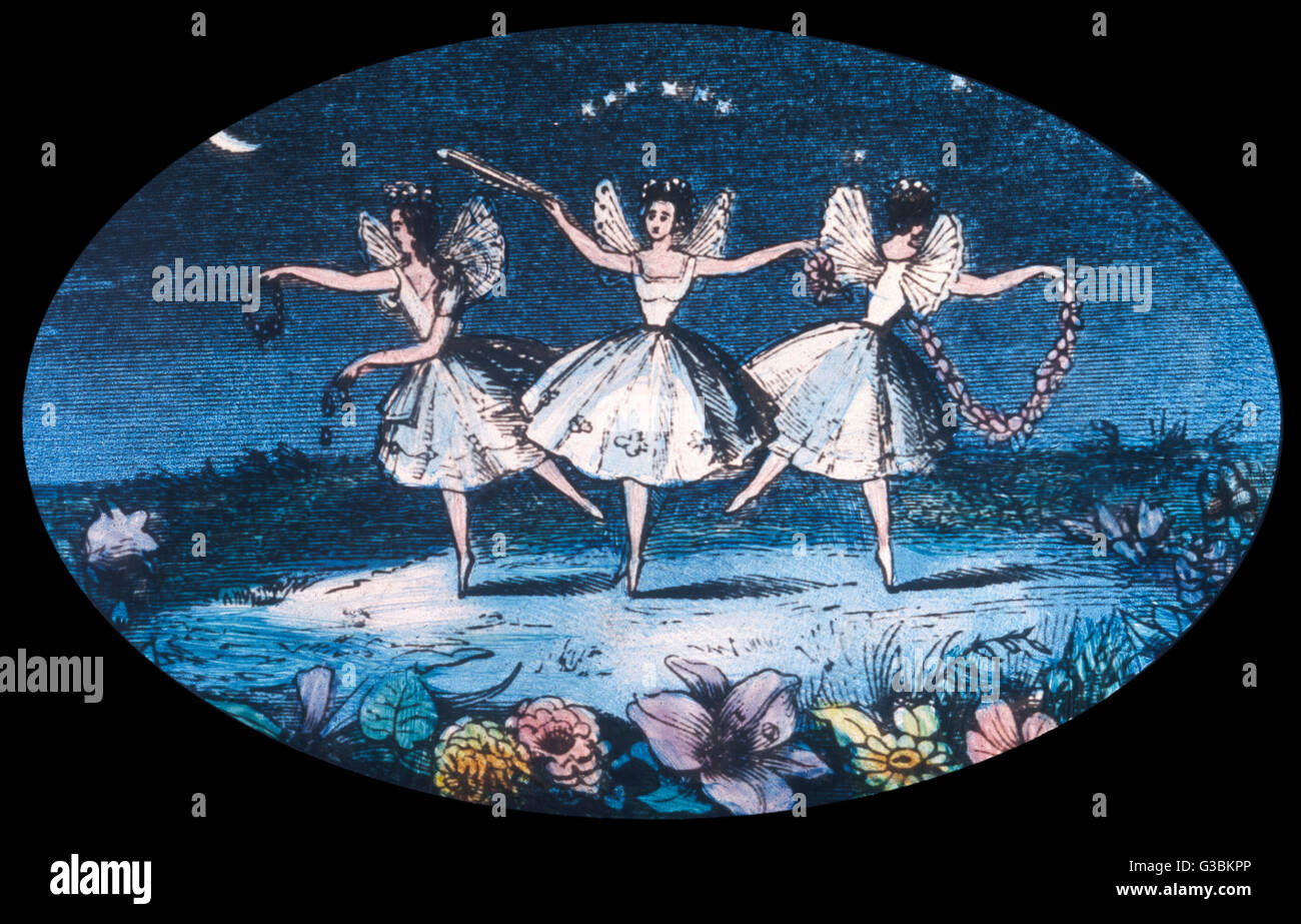 Fairy dance - three very  conventional fairies perform  a simple pas de trois with  the moon as spotlight. - Stock Image