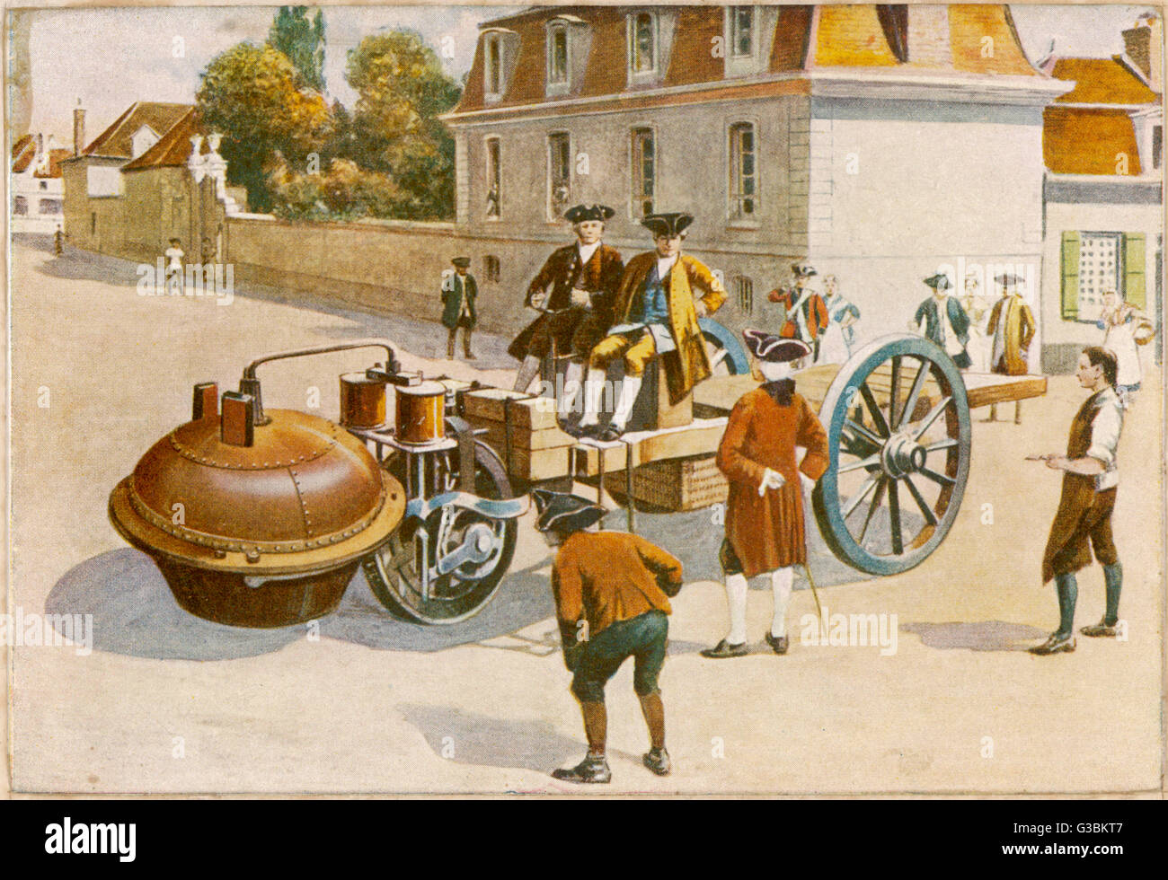 Cugnot demonstrates  his steam car.        Date: 1770 - Stock Image