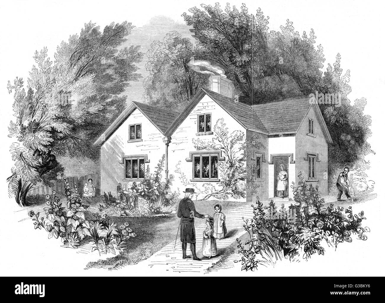 Double cottage for  agricultural districts, drawn  from the plans presented to  the Society for improving the  Condition - Stock Image
