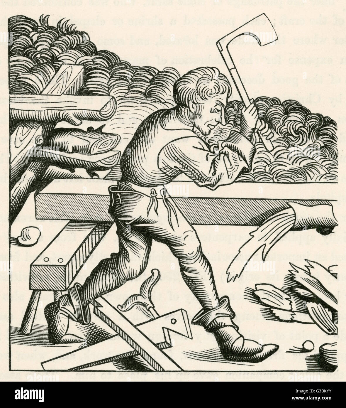 A companion carpenter  at work with an axe.        Date: 15th century - Stock Image