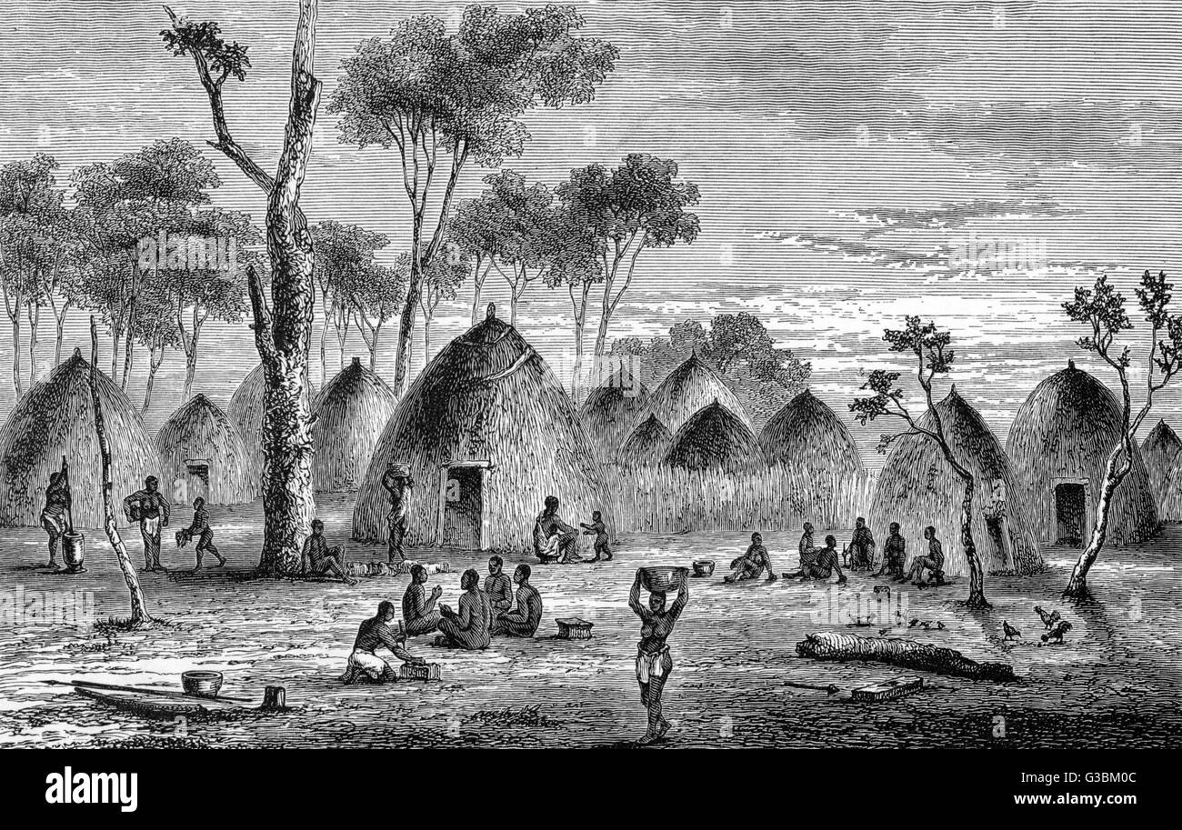 Village scene in Alvez' Boma,  sketched by Lieutenant Cameron  during his crossing of Africa  from East to West - Stock Image