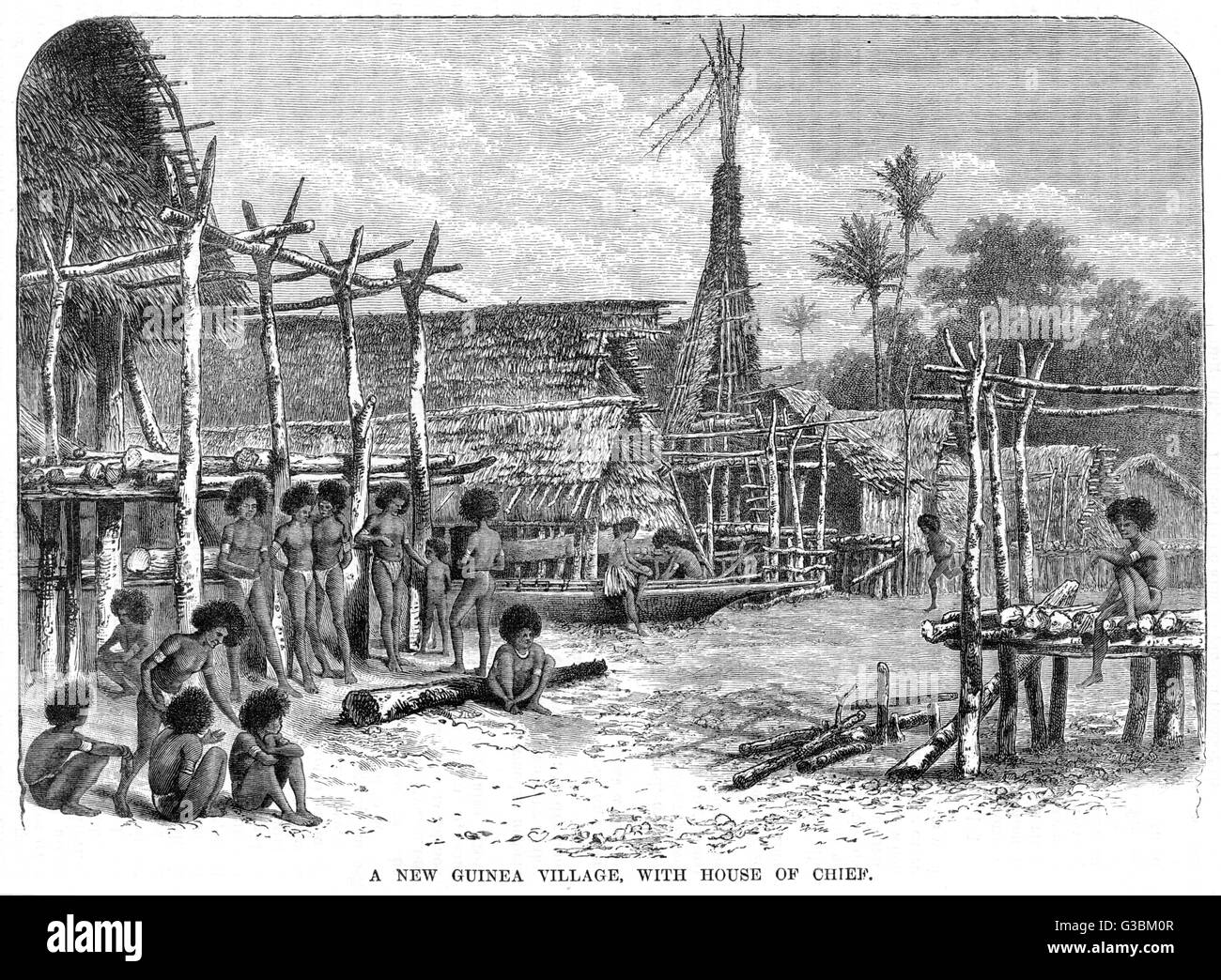 A New Guinea village : the  most prominent building is  the house of the Chief.       Date: 1887 - Stock Image