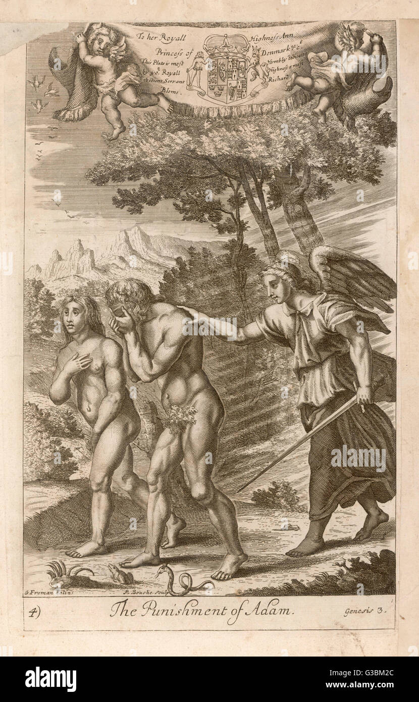 Adam and Eve, having eaten the  Forbidden Fruit, are expelled  from Eden and told they must  henceforward work for - Stock Image