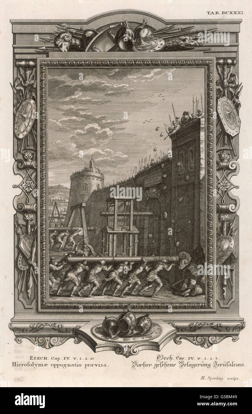 Jerusalem is besieged by the  Romans, commanded by Titus  (subsequently Emperor) - the  event is foreseen by the - Stock Image