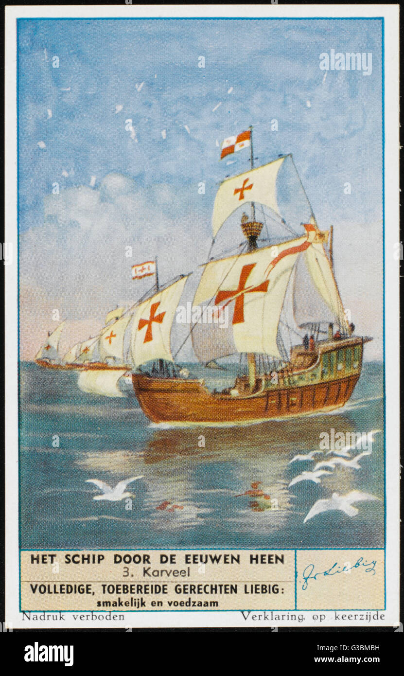 A Spanish caravel.         Date: 16th century - Stock Image