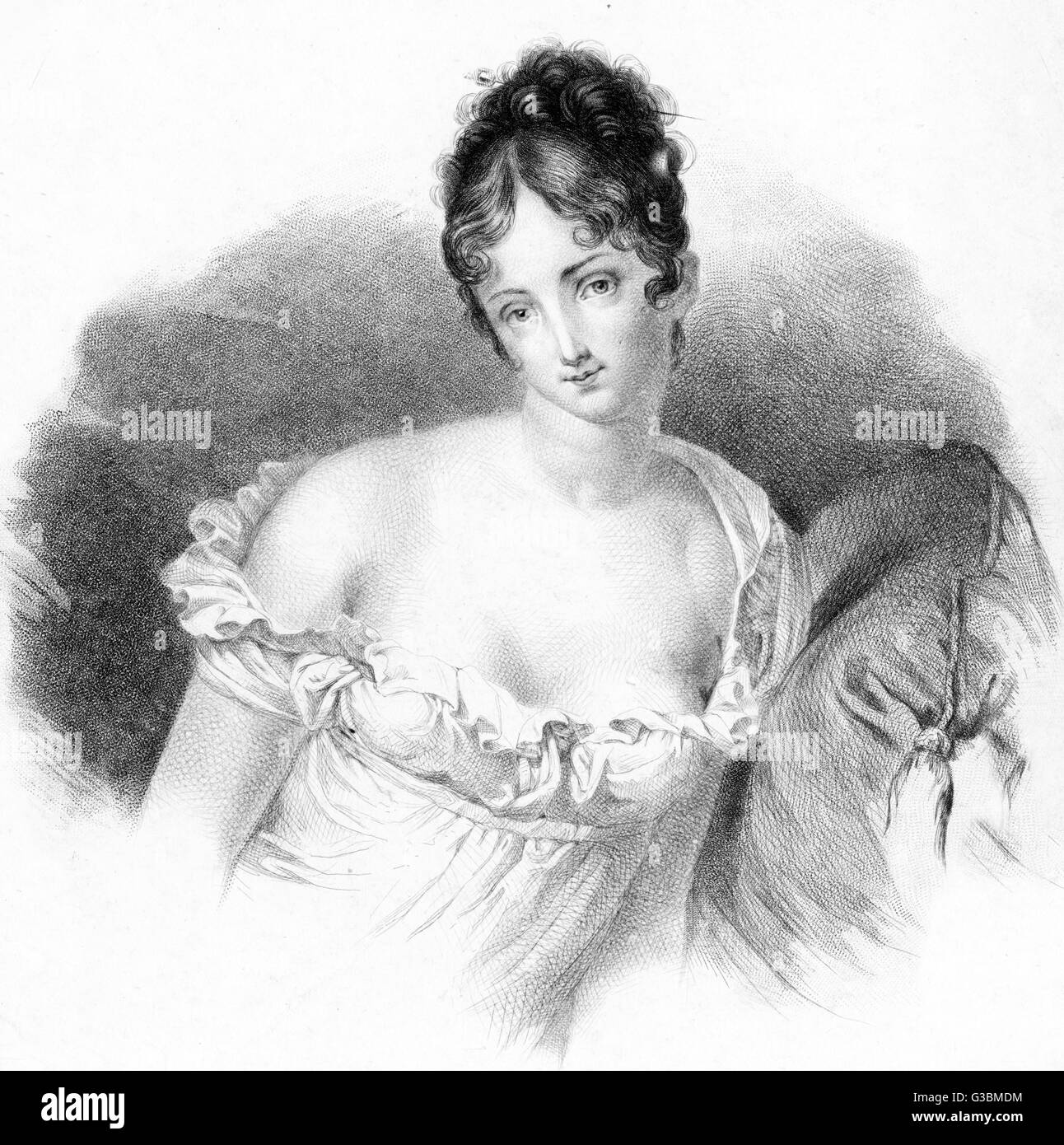 JEANNE-FRANCOISE-JULIE- RECAMIER French social leader in a characteristic pose.       Date: 1777 - 1849 - Stock Image